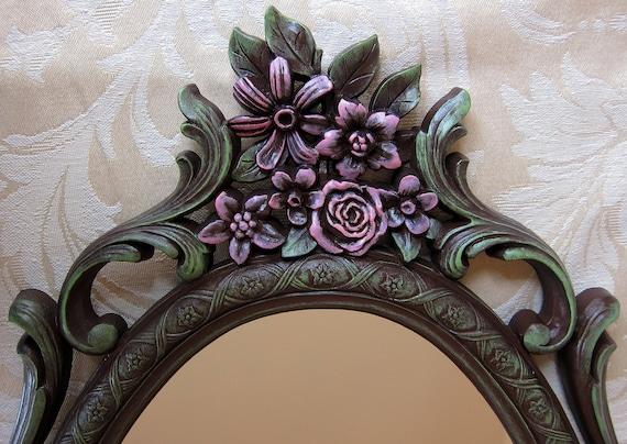 Vintage Syroco Floral Mirror Chocolate Brown Pink Green Ornate Hollywood Regency