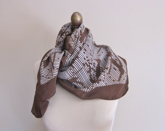French scarf , chestnut brown , abstract scarf , 1960s  fashion, square scarves, vintage scarf, ladies headscarf.