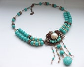 LAST CHANCE Turquoise Green Rhinestone Necklace with Glass Pearls Beads Collage Art Handmade Vintage Glass Beads