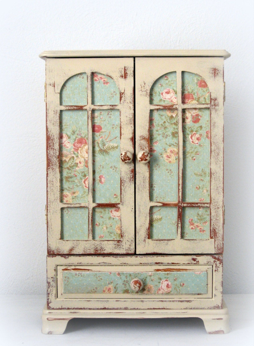 huge shabby chic jewelry box dresser armoire french. Black Bedroom Furniture Sets. Home Design Ideas