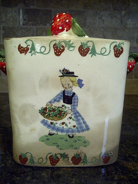 1950's Wales Square Canister with Welsh Girl and Strawberries