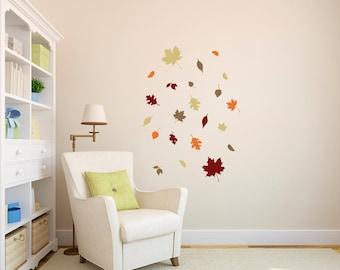 Fall Harvest Leafs Falling Thanksgiving Decoration - Wall Decal Custom Vinyl Art Stickers