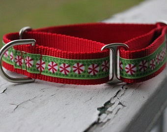 "Christmas Peppermint Candy 1"" Martingale Collar"
