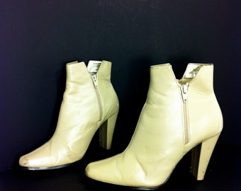 Leather Ankle Boot Heels 8 - Slip On High Heel Booties 8 - Minimal Boots 8