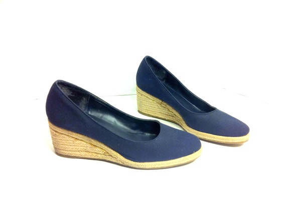 Canvas Wedge Espadrilles 9 -  Navy Woven Slip On Mules 9