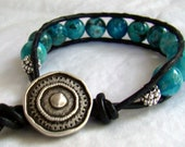 Crazy Blue Lace Agate Single Chan Luu Style Leather Wrap