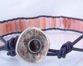 Pink Chalcedony Greek Leather Wrap