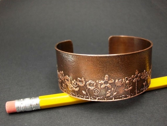 Flowers In Full Bloom Etched Cuff
