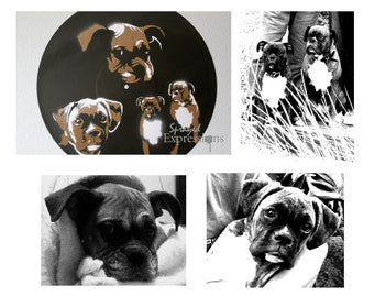 Customizable Animal Portrait Spray Paintings on Upcycled Vinyl Record - Made to Order