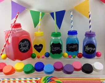 6 Milk Bottles (8 oz) with Chalkboard Labels - 12 Different Lid Colors - Juice Bottles, Birthday Parties
