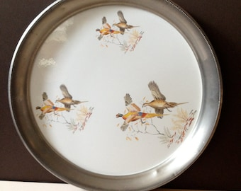 Pewter and Porcelain Serving Tray Revere Pheasant Scene