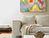 Large abstract painting in bright colors: gray, yellow, red, orange, blue, green, white, on 24x36 inch stretched canvas, original artwork