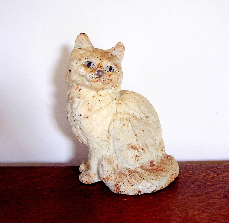 Antique hubley persian cat doorstop cast iron kitten - Cast iron cat doorstop ...