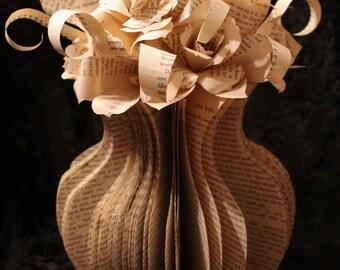 Large Flower Vase Book Sculpture