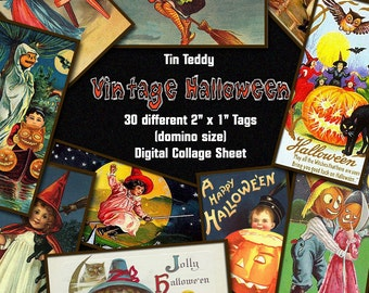 "Vintage Halloween Digital Collage Sheet  - 2"" x 1"" domino size tags  x 30  - Great for scrapbooks etc - Instant Download"
