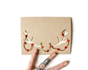 Antlers Christmas Card: Laser Cut Reindeer Antlers - handmade Christmas Garland