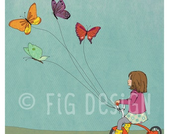 Tricycle, GIrl and Butterflies, butterfly dreams lead to adventure, Giclee fine art print, 8x10, wall art, decor, gift