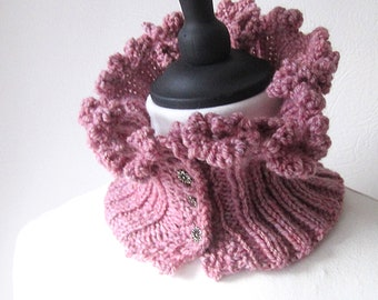 Handknit cowl, cowl with buttons, pink button cowl, pink neckwarmer, Winter cowl, Winter accessories, uk cowls, knit neckwarmer