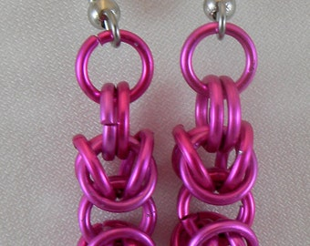 Pink Mini Byzantine Chainmaile Earrings