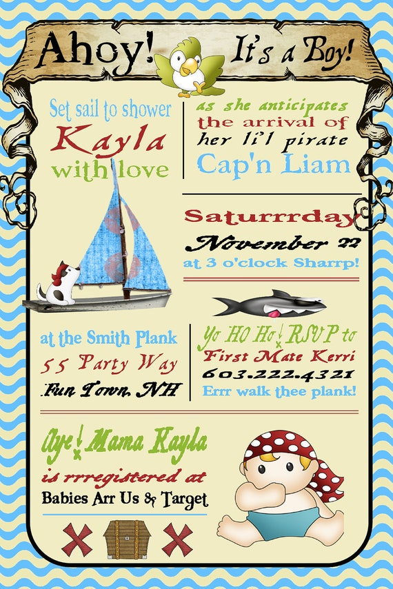 Pirate Baby Shower Invitations for your inspiration to make invitation template look beautiful