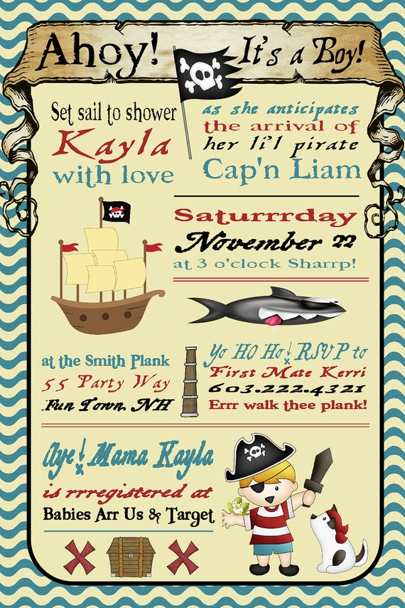 pirate baby shower invitation for boys invitation pirate  etsy, Baby shower