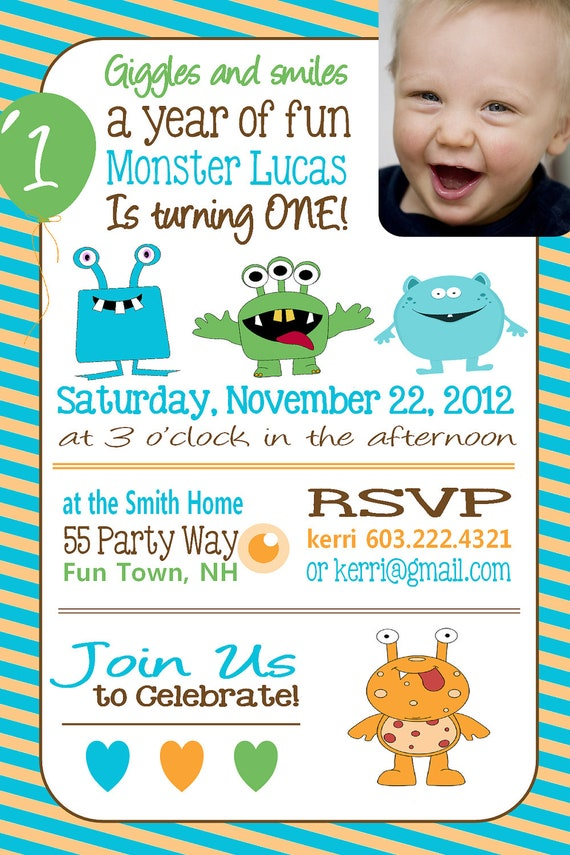 Monster Birthday Invitation First Birthday Monster Party