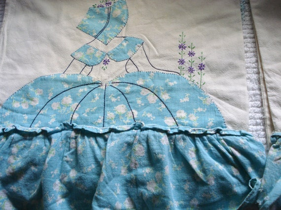 Vintage Pillowcases: Set of 2 Lovely Bonnet Ladies with Ruffled Skirts PRICE REDUCED