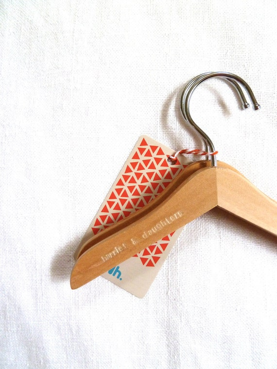 Set of 10 Hand Stamped Wooden Doll Clothes Hangers