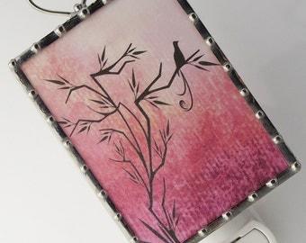 Pink Bird Night Light - Nightlight Bird on a Tree Image - PINK - Nursery Gift - Bathroom Lighting N43