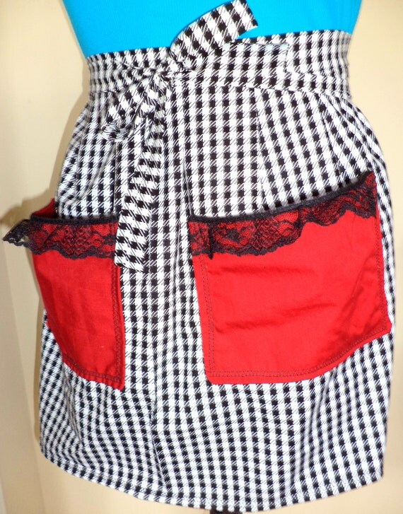 Half Apron, Houndstooth with black lace and red accents and lining