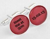 Monogram Custom Cuff Links, Personalized father of the bride wedding date cufflinks, Wedding cuff links, Groom or groomsman cuff links