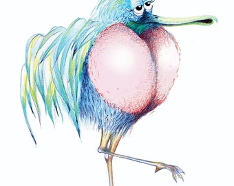 The Loove Bird- Loves Everybody and everything  - Original Colour Pencil Drawing - 8 x 6 inch - Print