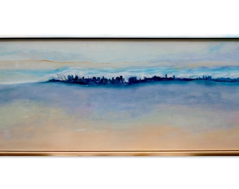Original painting of a town view, the frame is also part of the painting - Horizon City 5