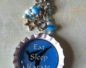 EAT SLEEP KARATE- bottle cap key chain