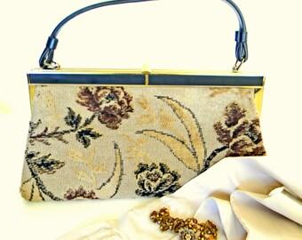 Vintage Tapestry Purse. 60s Verdi Handbag Floral Bag. Mad Men Fashion. Carpet Bag. Vegan Friendly. Natural Colors. Girlfriend gift.