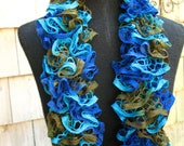 Under the Sea II Crochet Ruffle Scarf- Made to Order