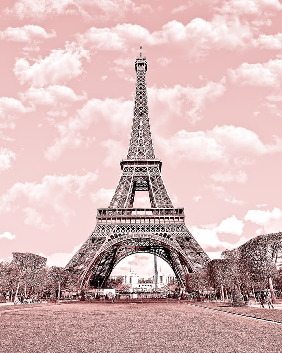 Buy 2 get 1 free paris in pink eiffel tower by for Art decoration france