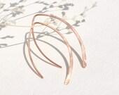 Wishbone Earrings <<>> 14k Rose, Gold, or Sterling Silver <<>> Open Crescent Hoops