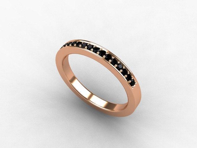 Rose Gold ring Black Diamond Wedding band by TorkkeliJewellery