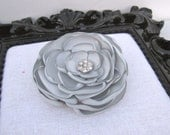 Grey Gray Silver Rose Flower Satin Hair clip pin with  Sparkly Crystals / Wedding / Photography Op / Girl / Woman