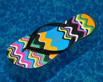 Custom Collector Missoni Havaianas Slim Rainbow Zig Zag Wave RARE Flip Flops US 6 - 7  Brazil 37/38 w/ Swarovski Crystal Rhinestone Shoes