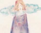 Dreaming, watercolor painting art print surreal fairytale artwork dream girl