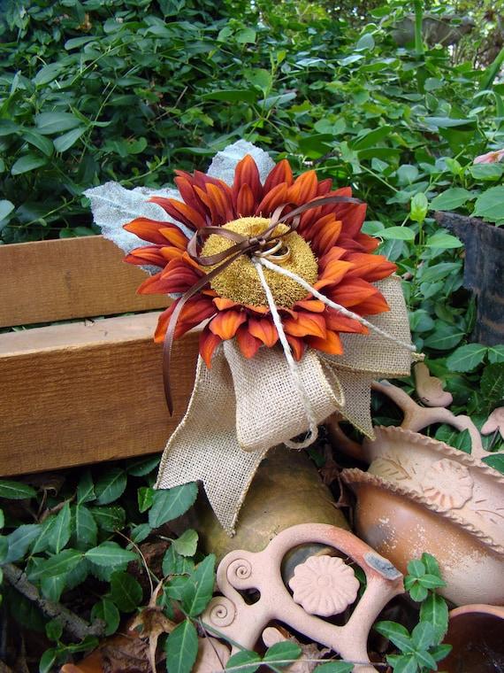 Ring Pillow Alternative, Fall Wedding Pillow, Ring Bearer Pillow, Sunflower, Burlap