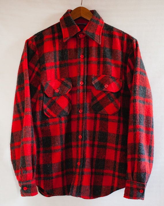 vintage red black plaid flannel shirt by acevintagesupply