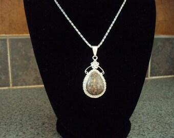 "1 7/8"" Natural fossil grinoid gemstone pendant"