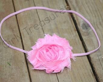 Pink Shabby Headband. Pink Flower Headband. Baby Headband. Infant Headband. Newborn Headband. Girl Headband.  Photo Prop.