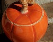 Dark Orange Pumpkin Jar - stoneware pottery, hand thrown Fall, Autumn, Harvest time decoration - muddywaterscc