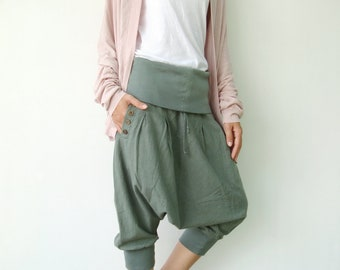 NO.43 Light Olive Cotton Cocoon Shorts, Casual Harem Pants