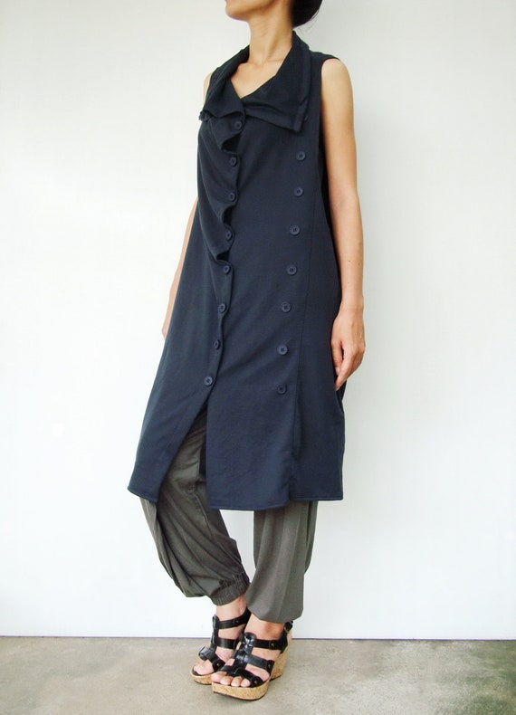 NO.67 Midnight Blue Cotton-Blend Jersey Front-Effect Tunic Top, Draped-Front Vest, Women's Tunic Dress