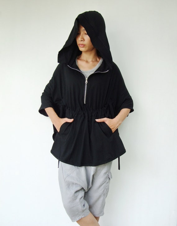 NO.75 Black Cotton-Blend Jersey Zip Front Hoodie Poncho, Women's Sweater